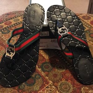Authentic Gucci GG Thong Web Sandals